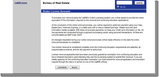 Broker Renewal Procedures - CalBRE renewal forms and