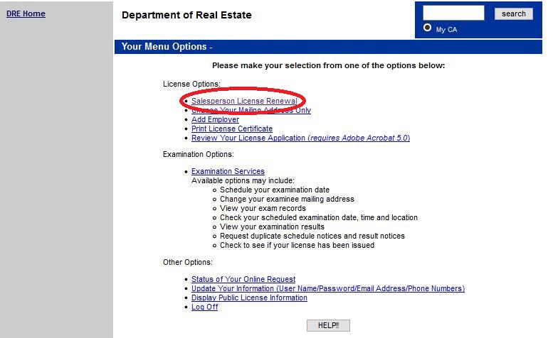 Sales Agent Renewal Procedures - CalBRE renewal forms and